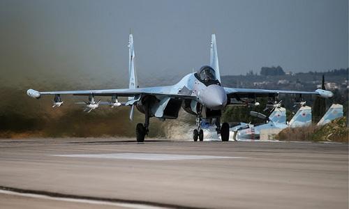 Tiêm kích Su-35S của Nga ở Syria. Ảnh: Theboresight.