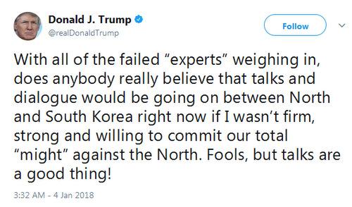 Tổng thống Trump hoan nghênh đàm phán liên Triều. Ảnh: Twitter.