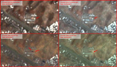 Cơ sở công nghiệp tại Tokchon trước (trên) và sau vụ phóng. Ảnh: Google Earth.