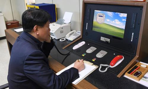 Bàn kết nối đường dây nóng giữa hai miền Triều Tiên. Ảnh:Yonhap.