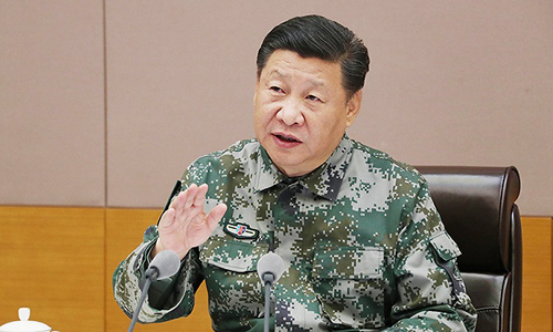 Chủ tịch Trung Quốc Tập Cận Bình trong một cuộc gặp với các quan chức quân đội và cảnh sát vũ trang. Ảnh: Xinhua.