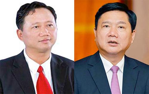 Bị can Trịnh Xuân Thanh (trái) và Đinh La Thăng.