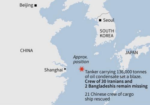 Sự cố xảy ra cách bờ biển Trung Quốc khoảng 160 hải lý. Đồ họa: AFP.