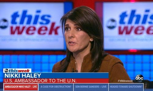 Đại sứ Mỹ tại Liên Hợp Quốc Nikki Haley lên tiếng bênh vực ông Trump trong cuộc trò chuyện trên một chương trình truyền hình của ABC hôm 7/1. Ảnh: ABC News.