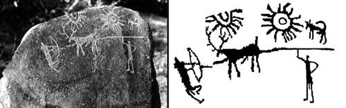 Bức chạm khắc trên đá được khai quật ở Kashmir, Ấn Độ. Ảnh: Guardian.
