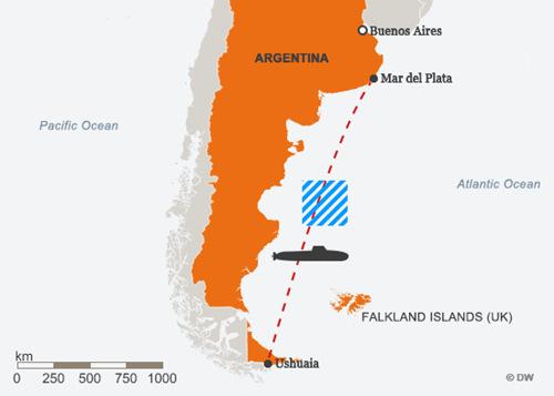Lộ trình và khu vực nghi mất tích (gạch chéo xanh) của ARA San Juan. Đồ họa: DW.