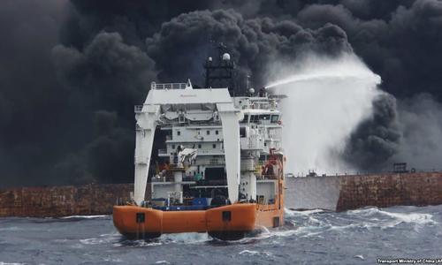 Tàu chở dầu Iran phát nổ, chìm hoàn toàn trên biển Hoa Đông