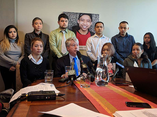 Family members of Tommy Le and their attorneys announced a lawsuit against the King County Sheriffs Office Tuesday, claiming Les constitutional rights were violated when he was killed by deputies while unarmed in Burien.