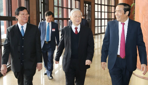 Tổng bí thư Nguyễn Phú Trọng đến dự và phát biểu chỉ đạo Hội nghị. Ảnh: TTX