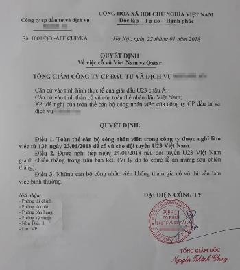 Tổng giám đốc cho nhân viên nghỉ việc cổ vũ U23 Việt Nam