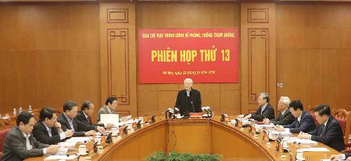 Phiên họp thứ 13 của Ban chỉ đạo Trung ương về phòng chống tham nhũng diễn ra sáng 22/1. Ảnh: N.C