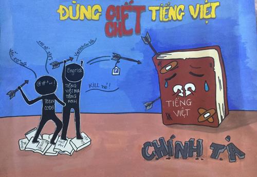 Một bức tranh cổ động giữ gìn sự trong sáng tiếng Việt của nhóm. Ảnh: Fanpage Trong tiếng Việt - Sáng tiếng Việt.