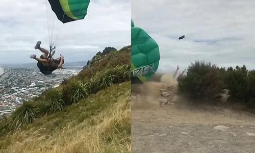 Chơi dù lượn, người đàn ông bị gió quật xuống đỉnh núi New Zealand