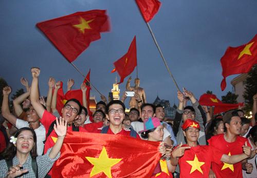 Phố đi bộ hôm U23 Việt Nam thắng Quatar. Ảnh: Duy Trần.