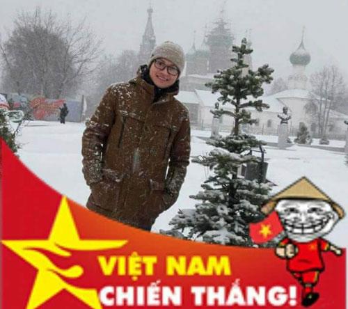 Trần Xuân Hải (Đại học Kỹ thuật TP Yaroslavl) và rất nhiều du học sinh tại CHLB Nga đã thay avata facebook cổ vũ cho đội tuyển Việt Nam. Ảnh: NVCC.