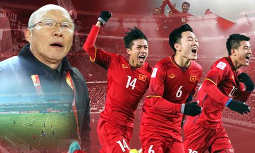 Huấn luyện viên Park Hang Seo và các cầu thủ U23. Ảnh: VnExpress.