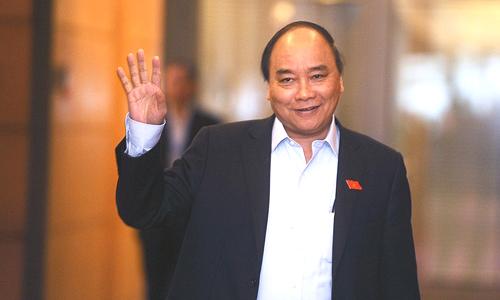 Thủ tướng Nguyễn Xuân Phúc đón đoàn U23 tại trụ sở Chính phủ lúc 14h ngày 28/1, sau khi đội tuyển về đến Việt Nam. Ảnh: Giang Huy