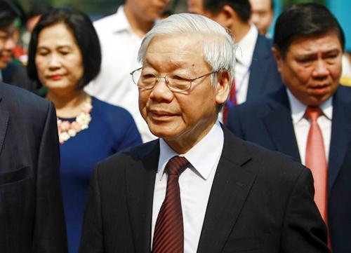 Tổng bí thư Nguyễn Phú Trọng tại lễ kỷ niệm. Ảnh: Thành Nguyễn.