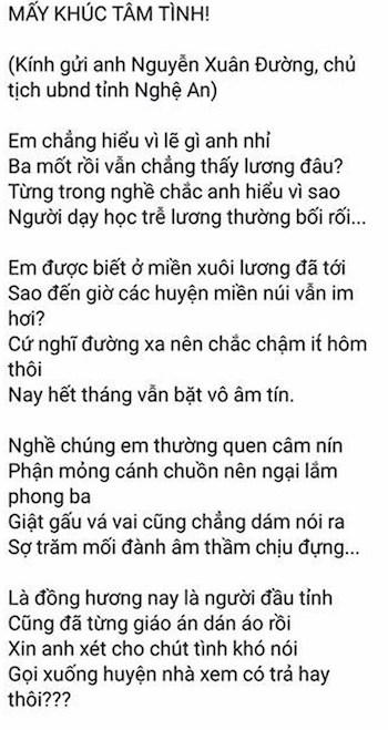 Nội dung bài thơ mà thầy Định đăng tải. Ảnh: Chụp màn hình.