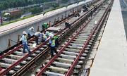 Hơn 2,4 km đường ray metro Sài Gòn được lắp hoàn thành