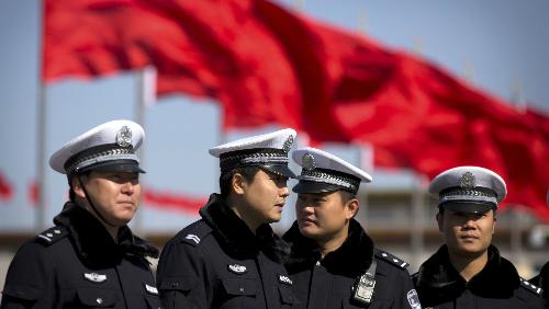Cảnh sát Trung Quốc tại quảng trường Thiên An Môn ở Bắc Kinh. Ảnh: AP.