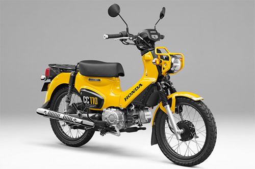 Honda Cross Cub 110 (CC110) có những đặc điểm nhận dạng như vành 17 inch màu đen, với màu sơn tùy chọn là vàng, đỏ và xanh lá mạ.
