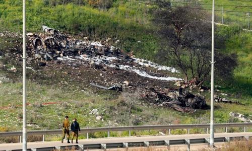 Xác F-16 tại Israel. Ảnh: AFP.