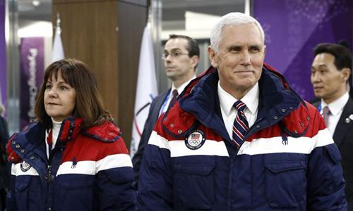 Phó Tổng thống Mỹ Mike Pence và phu nhân tại Hàn Quốc. Ảnh: AP.
