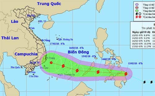 Dự báo đường đi và khu vực ảnh hưởng của bão Sanba. Ảnh: NCHMF