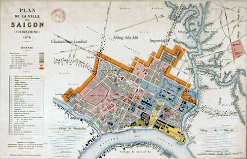 Đồng Mả Mồ trên bản đồ Sài Gòn do người Pháp vẽ năm 1878, dân cư tập trung chủ yếu hai bên đườngImpériale (nay là Hai Bà Trưng) về phía rạch Thị Nghè và từ đường Chasseloup Laubat (nay là Nguyễn Thị Minh Khai) về hướng sông Sài Gòn và rạch Bến Nghé. Ảnh tư liệu