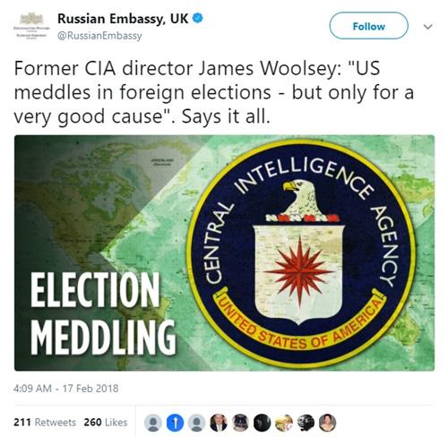 Đại sứ quán Nga tại Anh dẫn lại lời Woolsey trên Twitter. Ảnh: Twitter/RussianEmbassy.