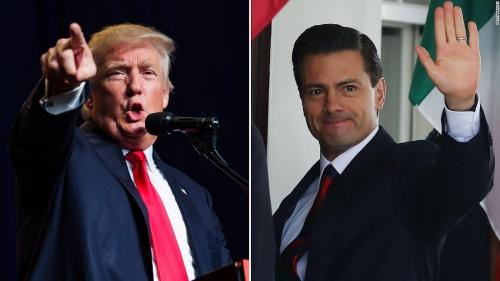 Tổng thống Mỹ Donald Trump và Tổng thống Mexico Enrique Pena Nieto. Ảnh: CNN.