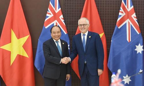 Thủ tướng Nguyễn Xuân Phúc và Thủ tướng Australia Malcolm Turnbull. Ảnh: Chinhphu.vn