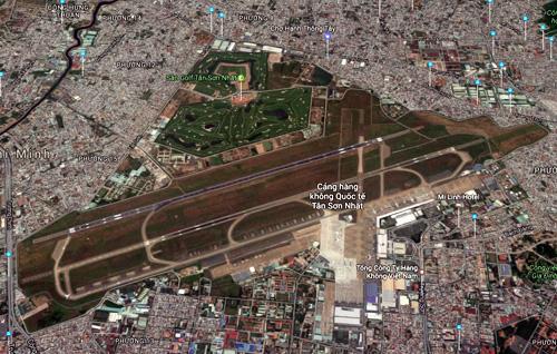 Sân bay Tân Sơn Nhất nhìn từ trên cao. Ảnh: Google maps