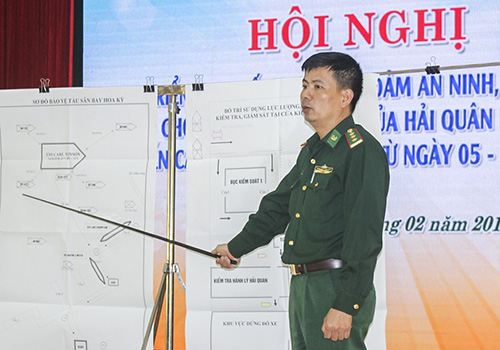 Biên phòng Đà Nẵng tổ chức hội nghị về công tác đón tiếp đoàn Hải quân Mỹ, hôm 28/2. Ảnh: T.H.