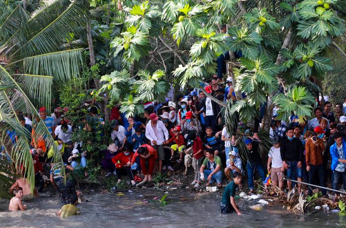 Hàng trăm thanh niên hò reo thi bắt vịt lấy may ở miền Tây