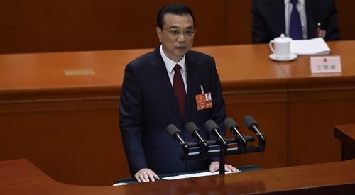 Thủ tướng Trung Quốc Lý Khắc Cường phát biểu trước quốc hội ngày 5/3. Ảnh: AFP.