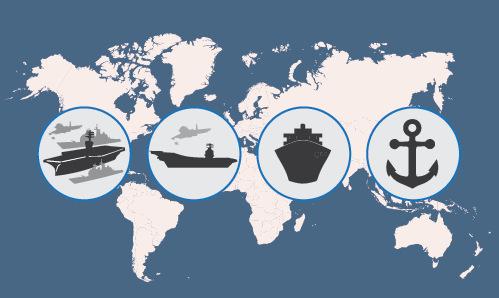 Vị trí trên toàn cầu của 11 siêu tàu sân bay Mỹ