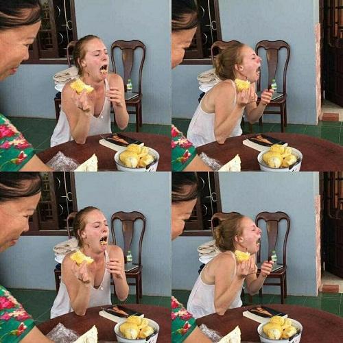 Lần đầu gái Tây thưởng thức sầu riêng.