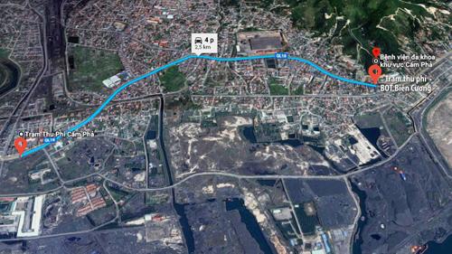 Vị trí trạm thu phí BOT Biên Cương nằm tại ngã ba yết hầu giao thông của TP Cẩm Phả.