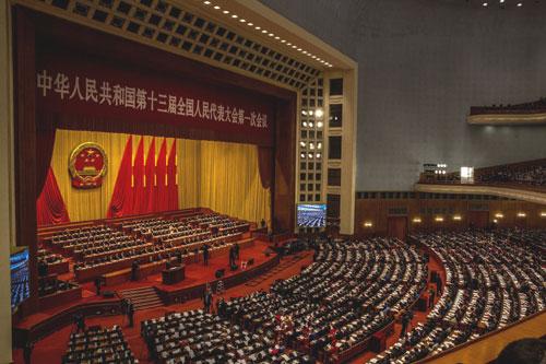 Quang cảnh phiên họp quốc hội Trung Quốc diễn ra tại Đại lễ đường Nhân dân. Ảnh: AFP.