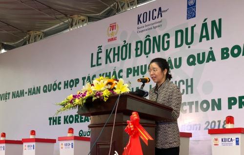bà Lee Myion, Công sứ Hàn Quốc tại Việt Nam, phát biểu tại sự kiện.