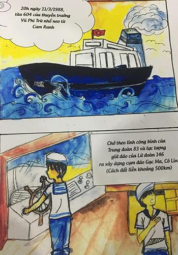 Hai nữ sinh vẽ truyện tranh về trận Gạc Ma