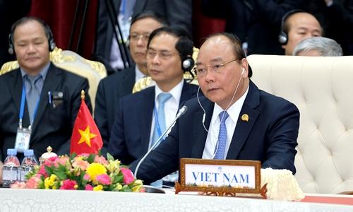 Thủ tướng Việt Nam Nguyễn Xuân Phúc tại Hội nghị Mekong - Lan Thương tại Campuchia hồi tháng một năm nay, Ảnh: Chinhphu.vn