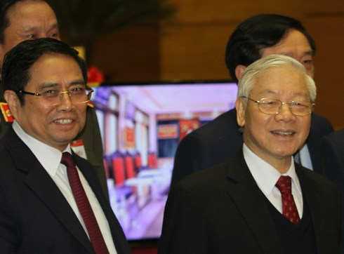 Trưởng ban Tổ chức Trung ương Phạm Minh Chính và Tổng Bí thư Nguyễn Phú Trọng tại Hội nghị toàn quốc về công tác tổ chức xây dựng Đảng ngày 19/1. Ảnh:V.V.T