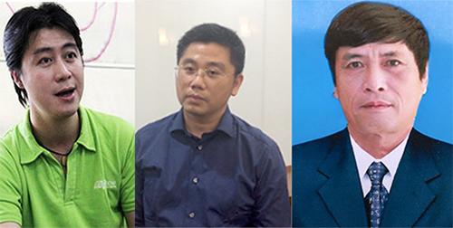 Ba bị can (từ trái qua): Nam, Dương và Nguyễn Thanh Hoá (cựu cục trưởng Cục Cảnh sát phòng chống tội phạm công nghệ cao - C50)