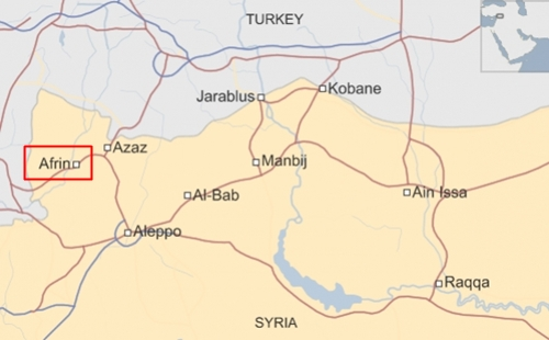 Vị trí thành phố Afrin, Syria. Đồ họa:BBC.