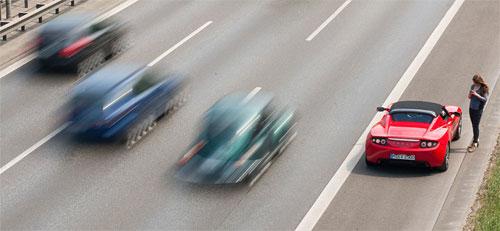 Làn khẩn cấp chỉ dùng trong trường hợp xe bị hỏng, và dành cho các loại xe ưu tiên hoạt động. Ảnh: Wikimedia.