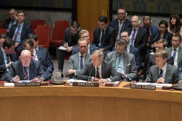 Các nhà ngoại giao Nga, Thuỵ Điển và Anh tại Liên Hợp Quốc. Ảnh: AP.