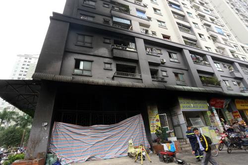 Chung cư CT4 Xa La xảy ra cháy vào tháng 10/2015. Ảnh: Bá Đô.